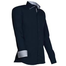 Giovanni Capraro 923 - 39 Overhemd Zwart (wit accent)