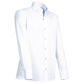 Giovanni Capraro 913 - 36 Overhemd Wit (Blauw Accent)