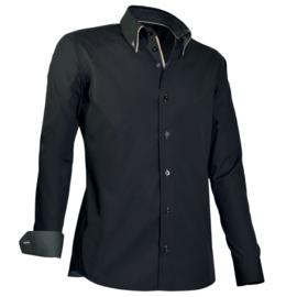 Giovanni Capraro 922 - 20 Overhemd Zwart (beige accent)