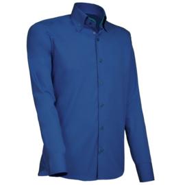 Giovanni Capraro 916 - 55 Overhemd Donkerblauw (Groen Accent)