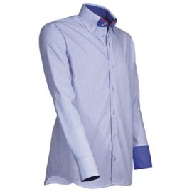 Giovanni Capraro 908 -85 Overhemd Blauw Gestreept (Rood Accent)