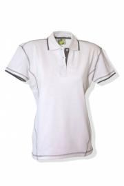 Poloshirt Flatlock Wit - Parel Grijs