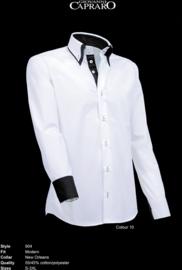 Giovanni Capraro 904 - 10 Overhemd Wit (Zwart Accent)
