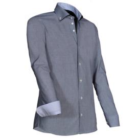 Giovanni Capraro 924 - 20 Overhemd Grijs (zwart accent)
