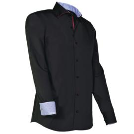 Giovanni Capraro 925 - 20 Overhemd Zwart (rood accent)