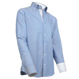 Giovanni Capraro 902 - 36 Overhemd Blauw Gestreept (Blauw Accent)