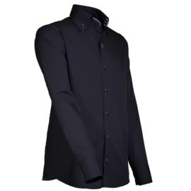 Giovanni Capraro 914 - 16 Overhemd Zwart (Wit Accent)