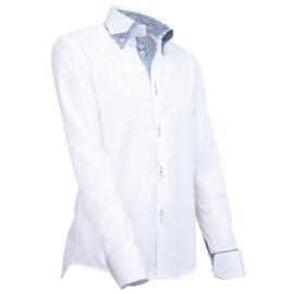 Giovanni Capraro 903 - 10 Overhemd Wit (Zwart Accent)