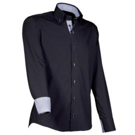 Giovanni Capraro 901 - 20 Overhemd Zwart (Grijs Accent)