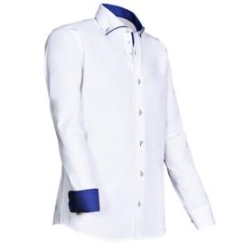 Giovanni Capraro 923 - 35 Overhemd Wit (blauw accent)
