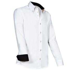 Giovanni Capraro 922 - 10 Overhemd Wit (beige accent)