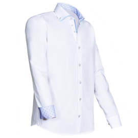 Giovanni Capraro 923 - 31 Overhemd Wit (lichtblauw accent)