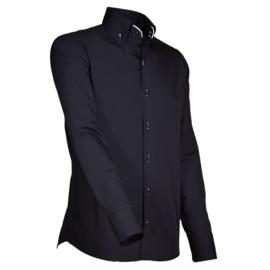 Giovanni Capraro 914 - 10 Overhemd Zwart (Wit Accent)