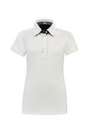 Poloshirt Cotton - Elasthan White - Dark Navy
