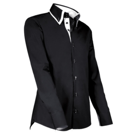 Giovanni Capraro 904 - 20 Overhemd Zwart (Wit Accent)