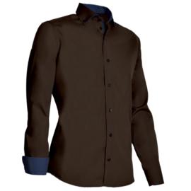 Giovanni Capraro 925 - 48 Overhemd Bruin (navy accent)