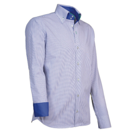 Giovanni Capraro 908 -55 Overhemd Blauw Gestreept (Groen Accent)