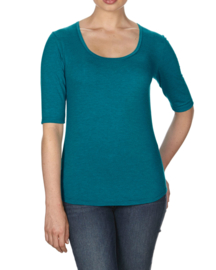 T-shirt Triblend Scoop Neck 3/4 mouw