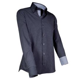 Giovanni Capraro 902 - 20 Overhemd Zwart Gestreept (Zwart Accent)