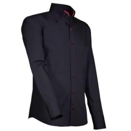 Giovanni Capraro 914 - 85 Overhemd Zwart (Rood Accent)