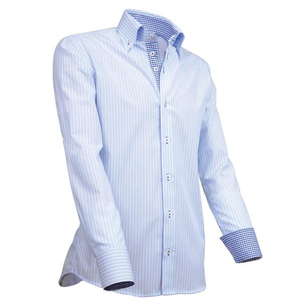 Giovanni Capraro 902 - 31 Overhemd Lichtblauw Gestreept (Blauw Accent)
