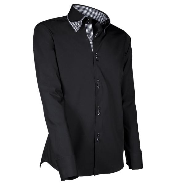 Giovanni Capraro 903 - 20 Overhemd Zwart (Zwart Accent)