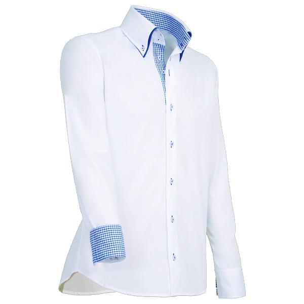 Giovanni Capraro 909 -10 Overhemd Wit (Blauw Accent)