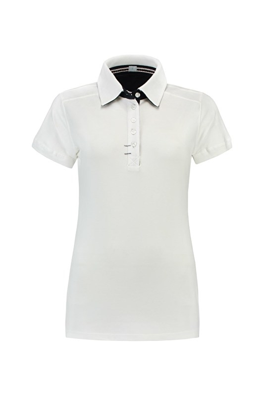 POLO ELASTHAN WHITE-DARK NAVY