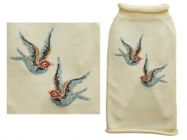 Cream Sweater Blue Birds