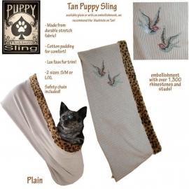 Puppy Sling Beige met Blue Birds strass