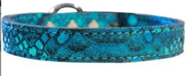 Dragon Skin leren Halsband Blauw