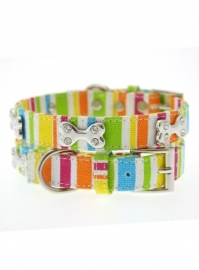 Striped Neon Canvas Diamant Bone halsband met lijn