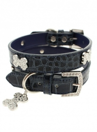Blue Crocodile Diamant Bone Halsband met Lijn