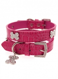 Legally Blonde Pink Crocodile Diamant Bone halsband met Lijn