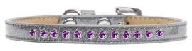 zilver glitter halsband met paarse strass
