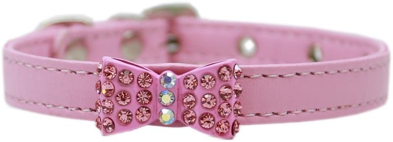 Halsband strikje roze met strass