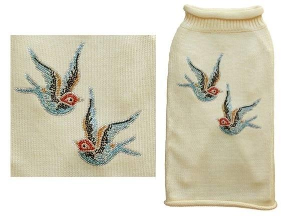 Cream Sweater Blue Birds
