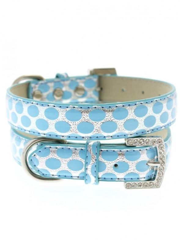 Blue Silver polka Dot Halsband met Lijn