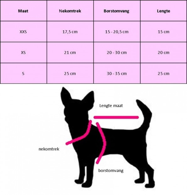 maat tabel hip doggie chihuahua kleding