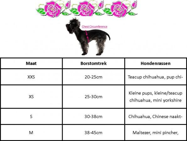 maattabel hondenkleding chihuahua urban pup