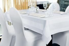 Tafelkleed Dena 80 x 80 cm kleur Wit, katoen met Satijnband Rechthoek