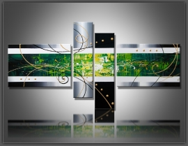 Abstract Groen Zilver 80x170cm