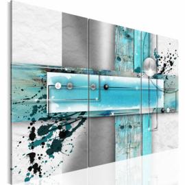 34 Abstract Wit Grijs Blauw (  1 hoek is licht Beschadigd )