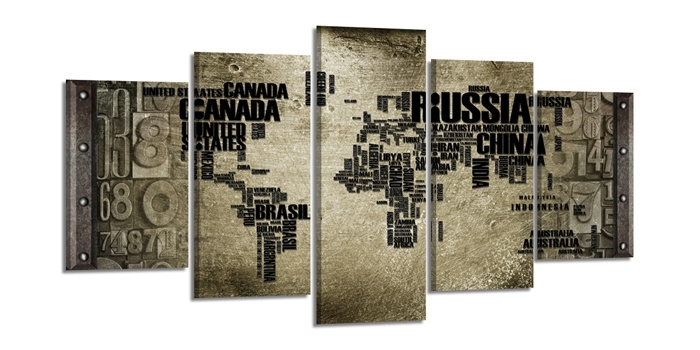 Wereldkaart Grijs Landnamen