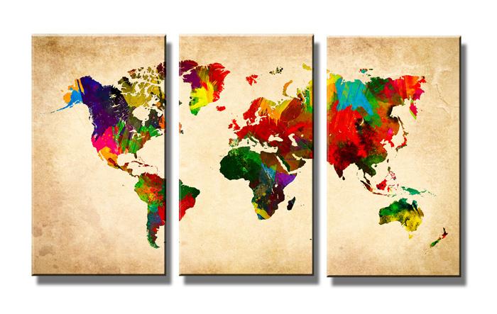 Wereldkaart Colors 80x130