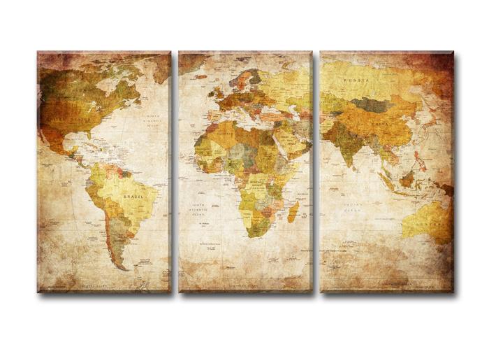 Wereldkaart Landen  80x130