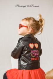 Applicatie zonnebril 'little miss sunshine' geborduurd glitter op jas
