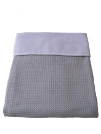 Wiegdeken 75 x 100 cm licht grijs wafelstof en  wit fleece