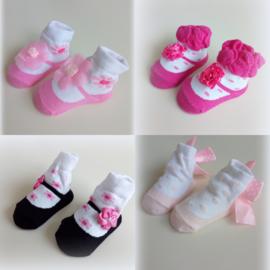 babysokjes meisjes roze/fuchsia/zwart/babyroze  'Mary Jane' sokjes 0 - 6 mnd.
