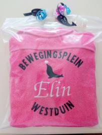 Geborduurde kinderbadjas fuchsia roze met naam en zeeleeuw